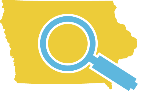 IOWA WITH A MAGNIFYING GLASS